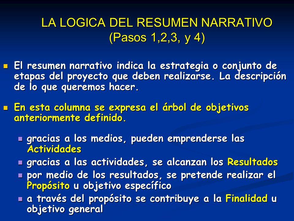 LA LOGICA DEL RESUMEN NARRATIVO (Pasos 1,2,3, y 4)