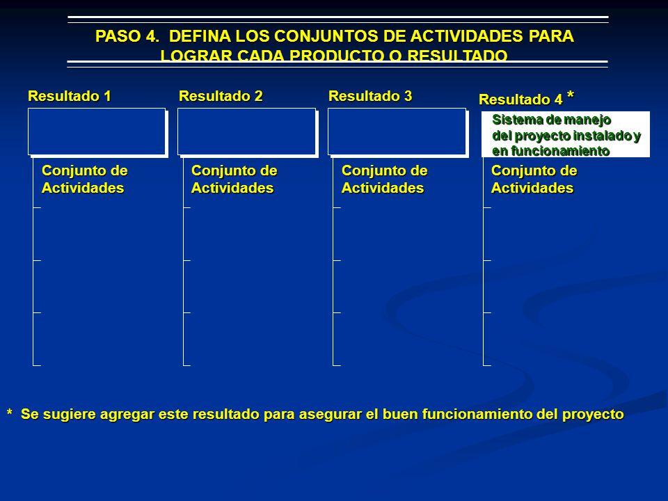 PASO 4. DEFINA LOS CONJUNTOS DE ACTIVIDADES PARA LOGRAR CADA PRODUCTO O RESULTADO