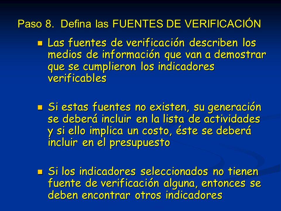 Paso 8. Defina las FUENTES DE VERIFICACIÓN