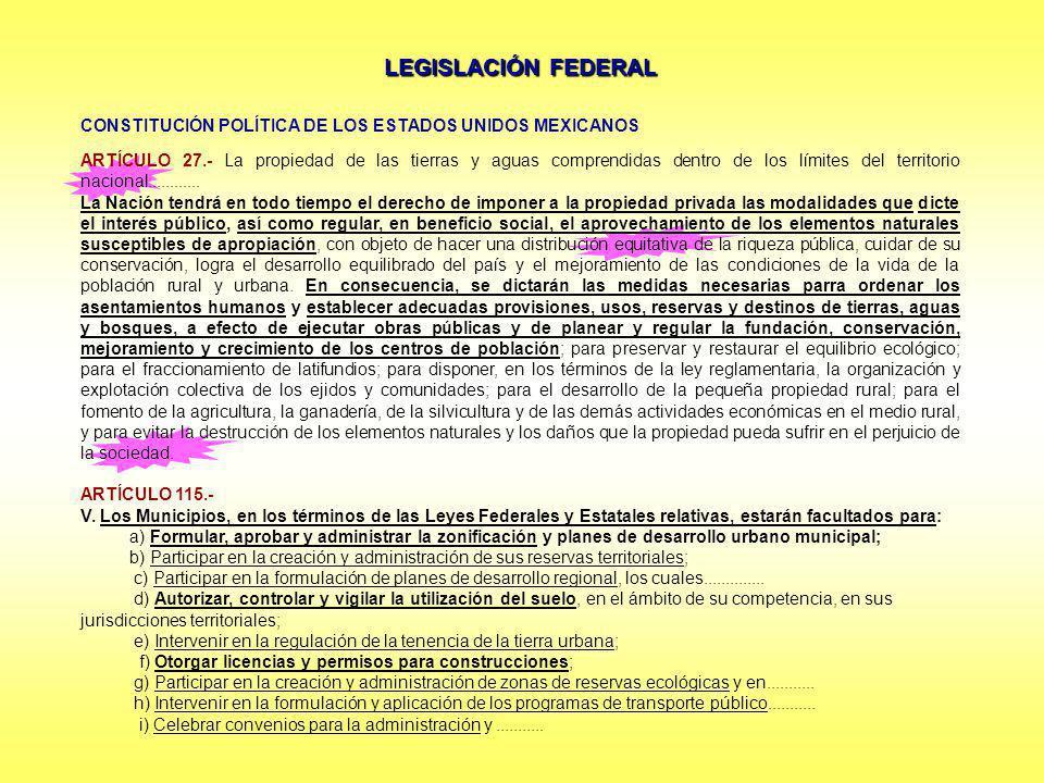 LEGISLACIÓN FEDERAL CONSTITUCIÓN POLÍTICA DE LOS ESTADOS UNIDOS MEXICANOS.