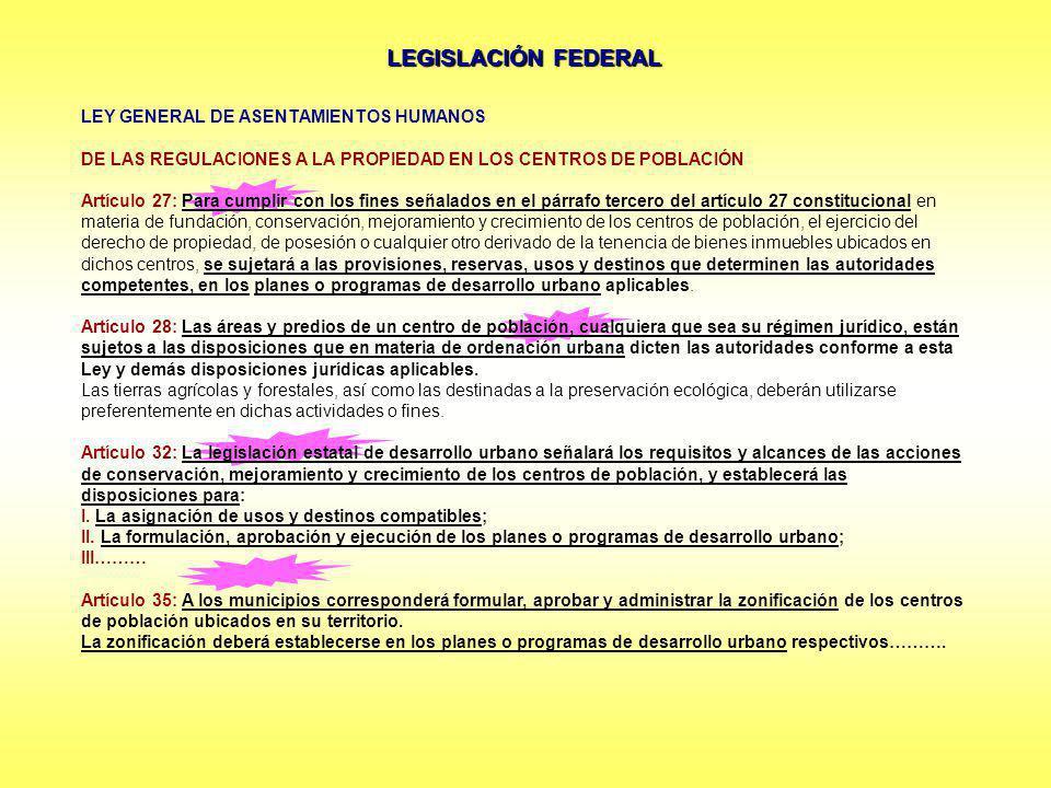 LEGISLACIÓN FEDERAL LEY GENERAL DE ASENTAMIENTOS HUMANOS