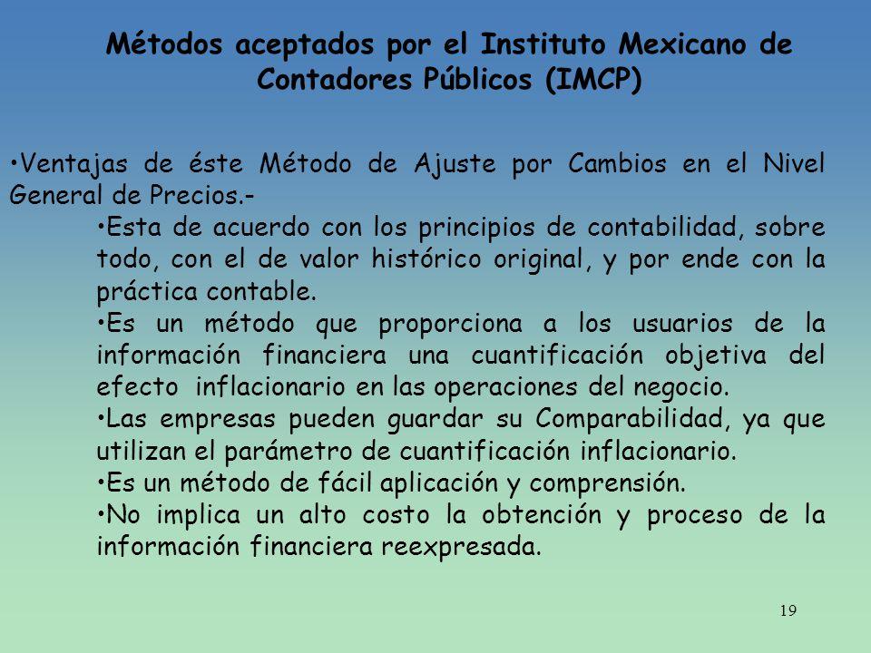 Métodos aceptados por el Instituto Mexicano de Contadores Públicos (IMCP)