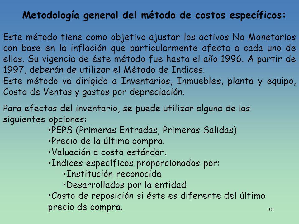 Metodología general del método de costos específicos: