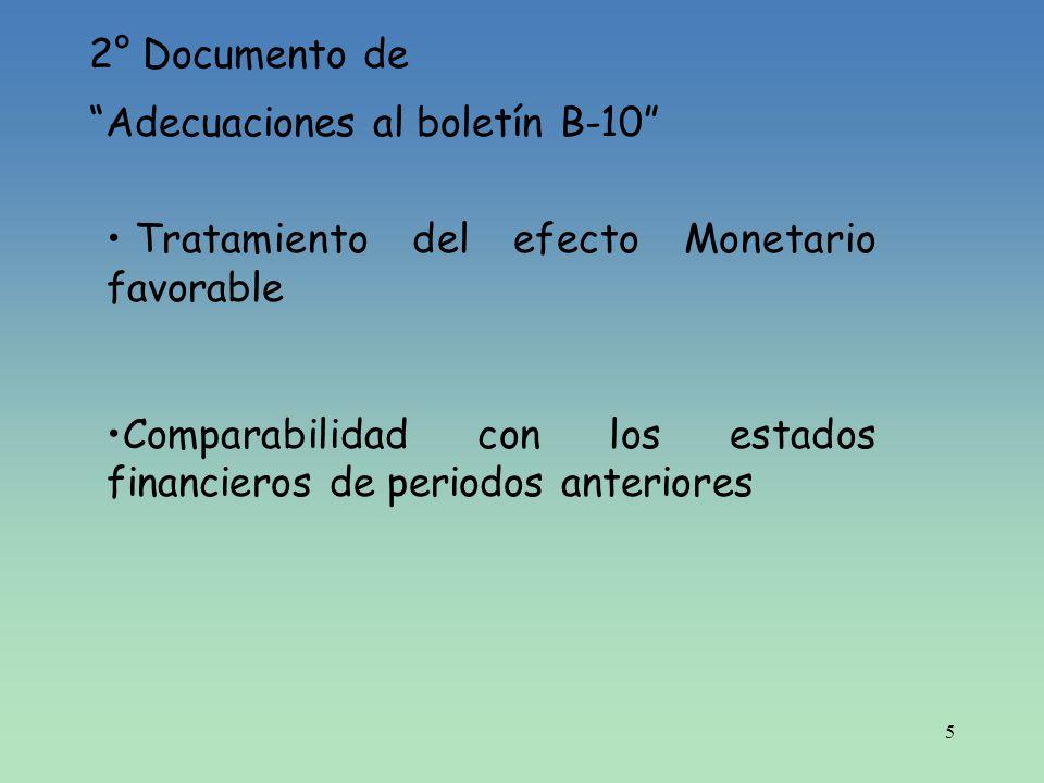 2° Documento de Adecuaciones al boletín B-10 Tratamiento del efecto Monetario favorable.