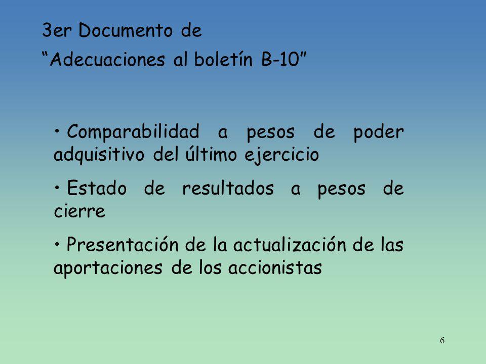3er Documento de Adecuaciones al boletín B-10 Comparabilidad a pesos de poder adquisitivo del último ejercicio.