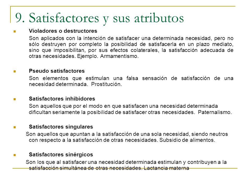 9. Satisfactores y sus atributos