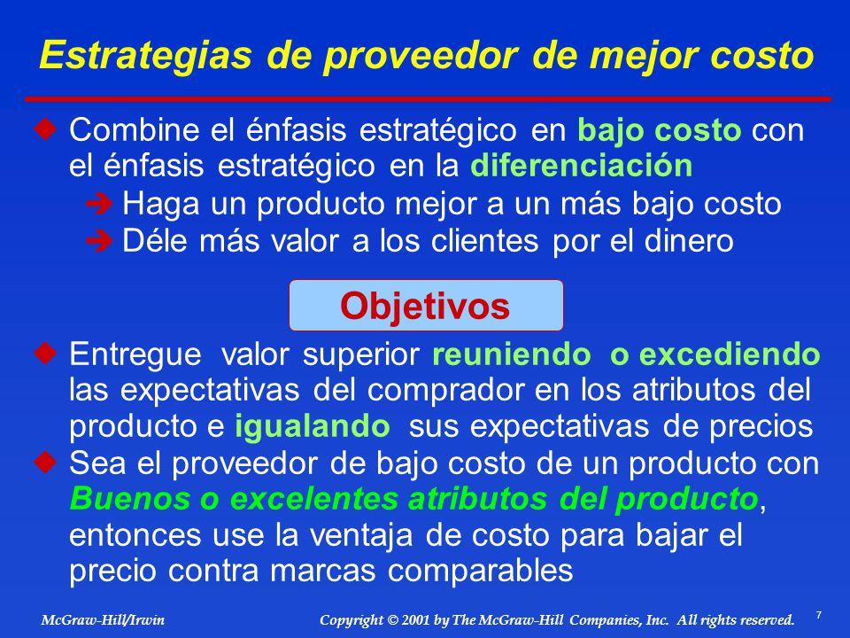Estrategias de proveedor de mejor costo
