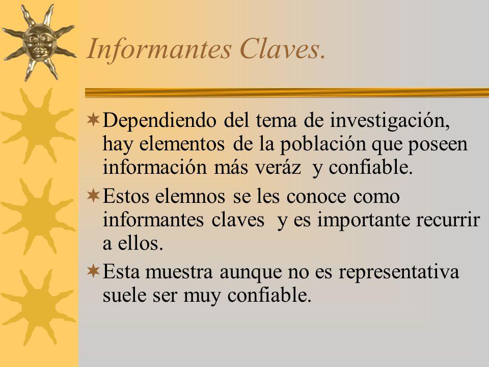 Informantes Claves. Dependiendo del tema de investigación, hay elementos de la población que poseen información más veráz y confiable.