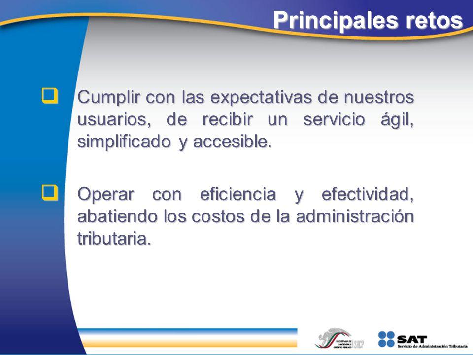 Principales retos Cumplir con las expectativas de nuestros usuarios, de recibir un servicio ágil, simplificado y accesible.