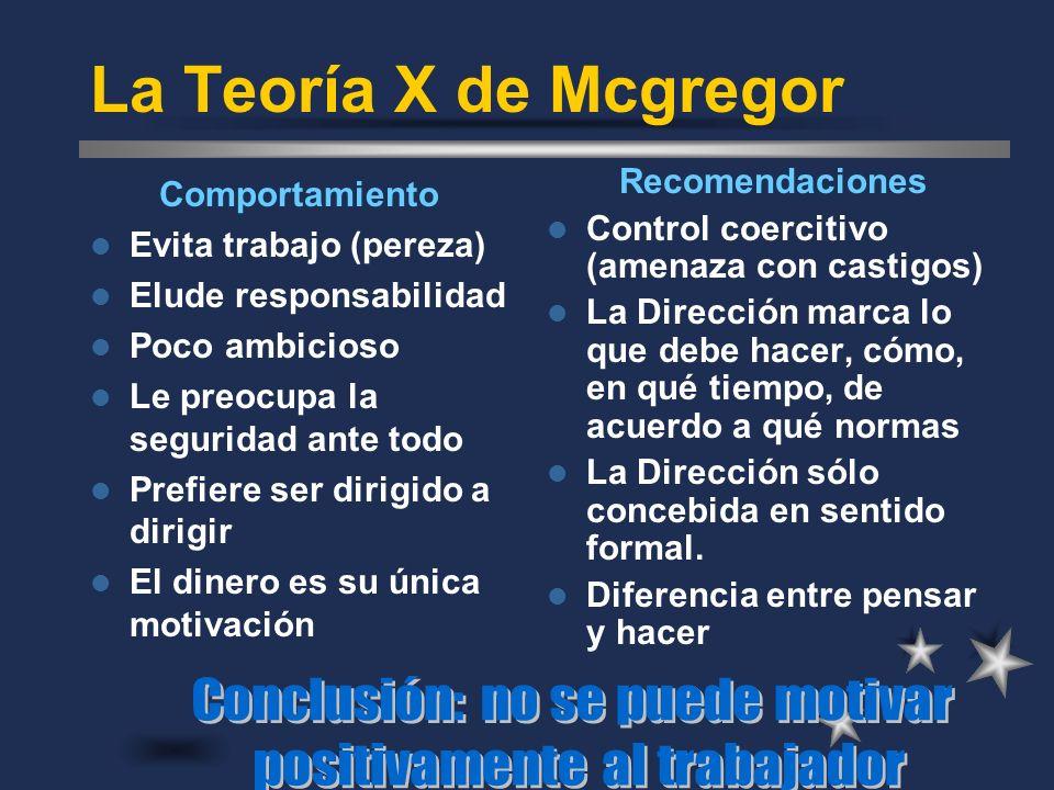 La Teoría X de Mcgregor Conclusión: no se puede motivar