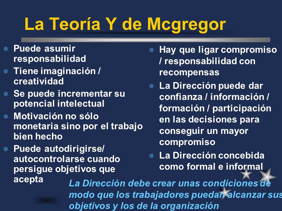 La Teoría Y de Mcgregor Puede asumir responsabilidad
