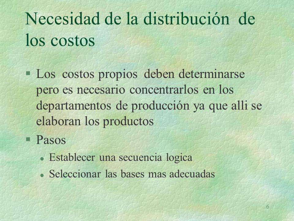Necesidad de la distribución de los costos