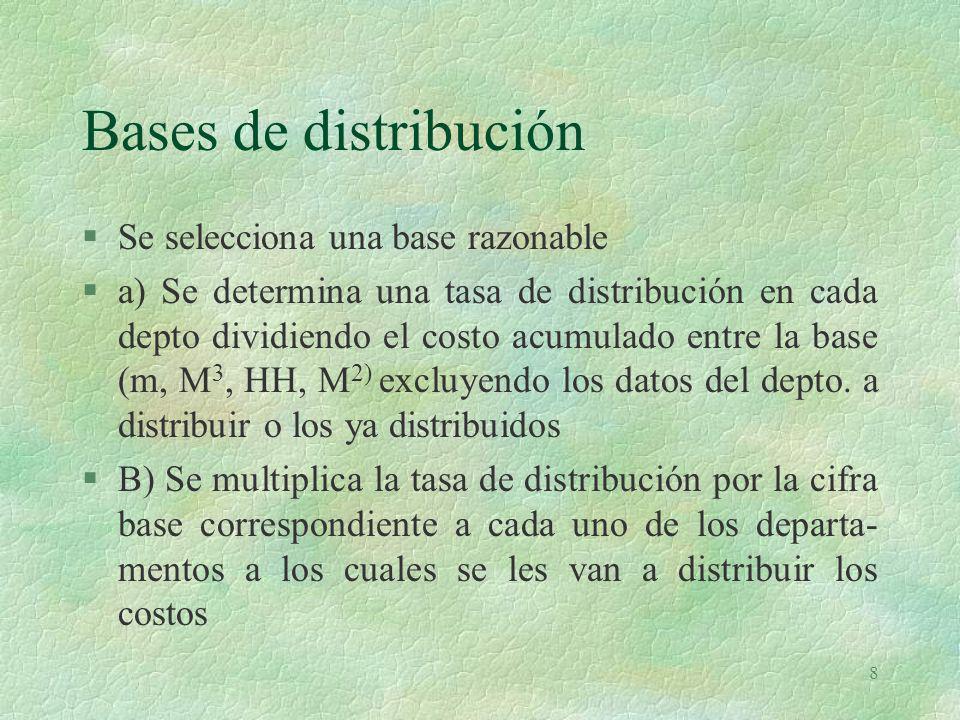 Bases de distribución Se selecciona una base razonable