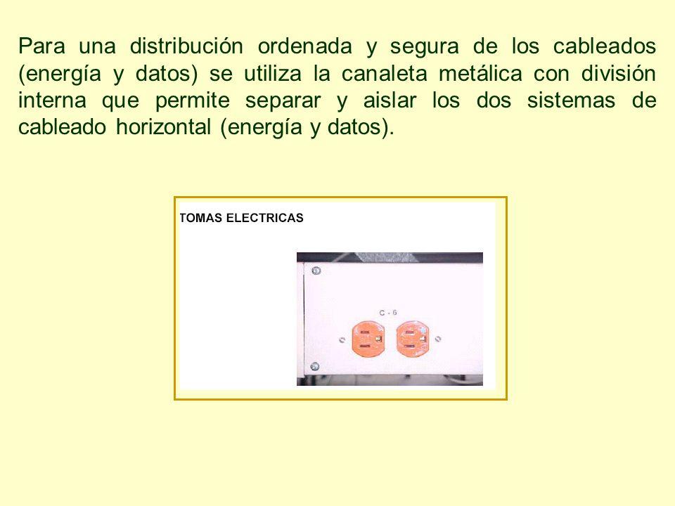 Para una distribución ordenada y segura de los cableados (energía y datos) se utiliza la canaleta metálica con división interna que permite separar y aislar los dos sistemas de cableado horizontal (energía y datos).