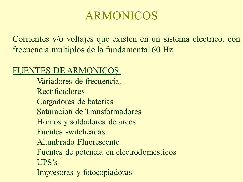 ARMONICOS Corrientes y/o voltajes que existen en un sistema electrico, con frecuencia multiplos de la fundamental 60 Hz.