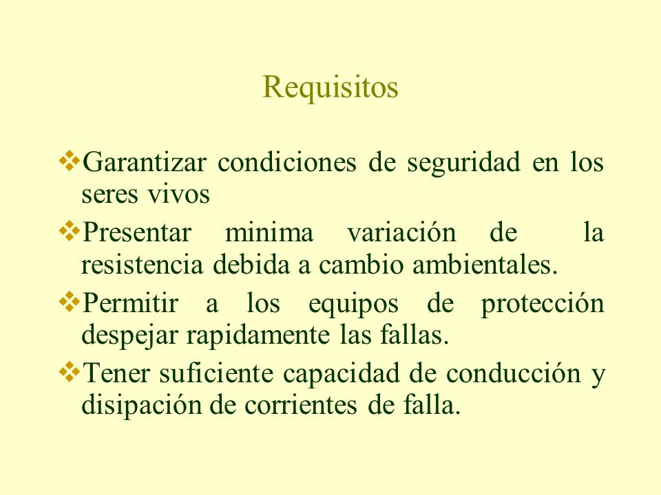 Requisitos Garantizar condiciones de seguridad en los seres vivos