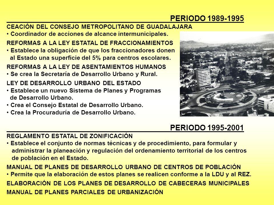 PERIODO 1989-1995 CEACIÓN DEL CONSEJO METROPOLITANO DE GUADALAJARA. Coordinador de acciones de alcance intermunicipales.