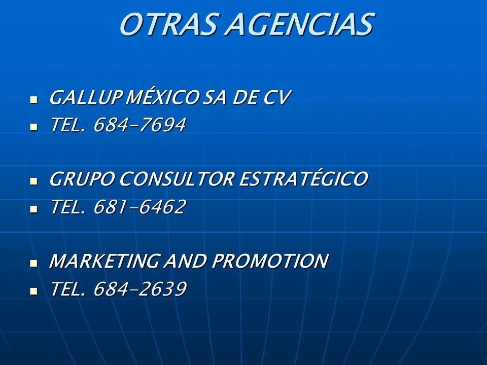 OTRAS AGENCIAS GALLUP MÉXICO SA DE CV TEL. 684-7694
