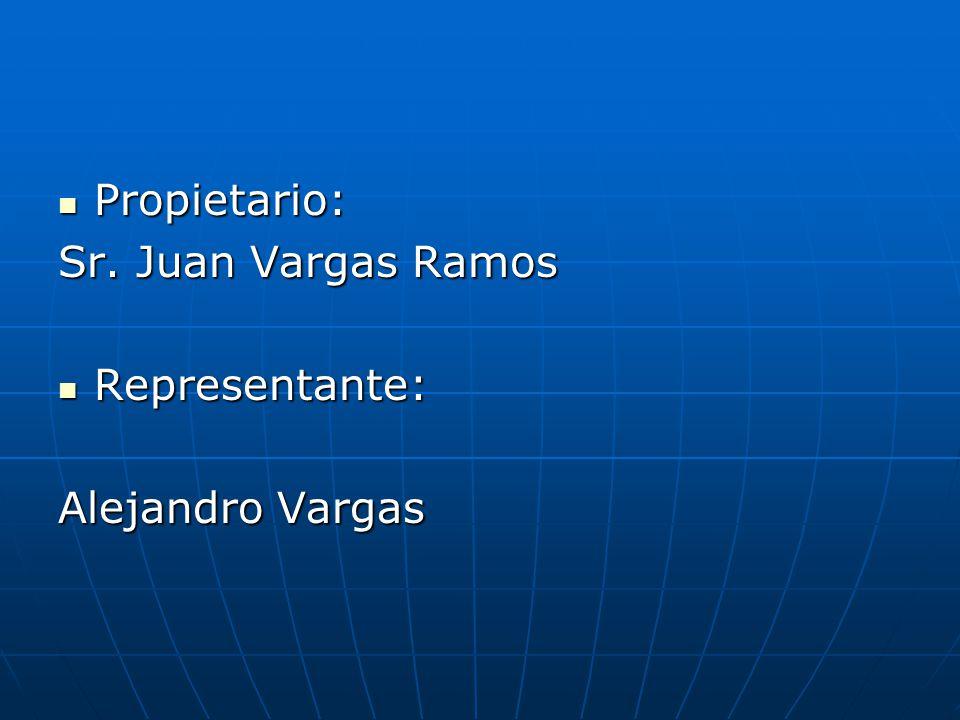Propietario: Sr. Juan Vargas Ramos Representante: Alejandro Vargas