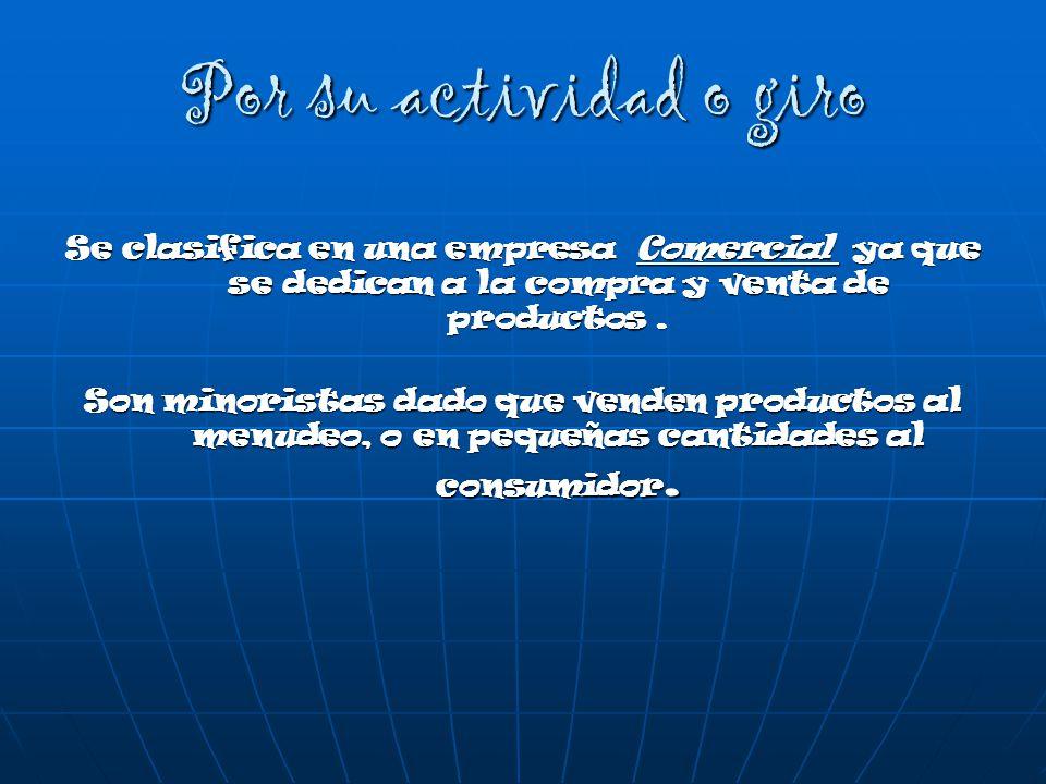 Por su actividad o giro Se clasifica en una empresa Comercial ya que se dedican a la compra y venta de productos .