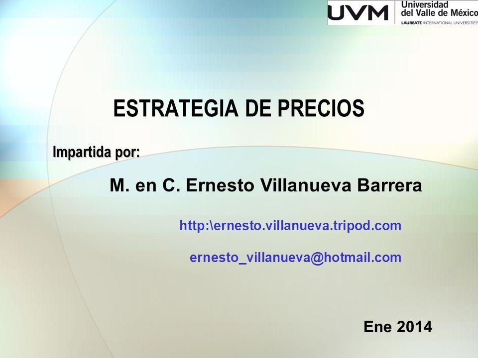 ESTRATEGIA DE PRECIOS M. en C. Ernesto Villanueva Barrera