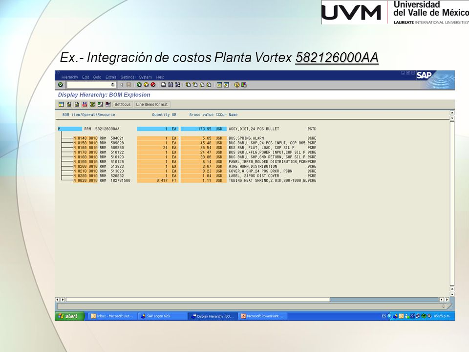 Ex.- Integración de costos Planta Vortex 582126000AA
