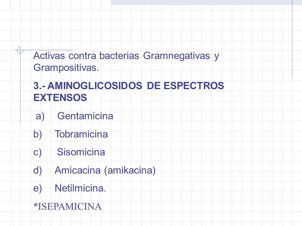 Activas contra bacterias Gramnegativas y Grampositivas.