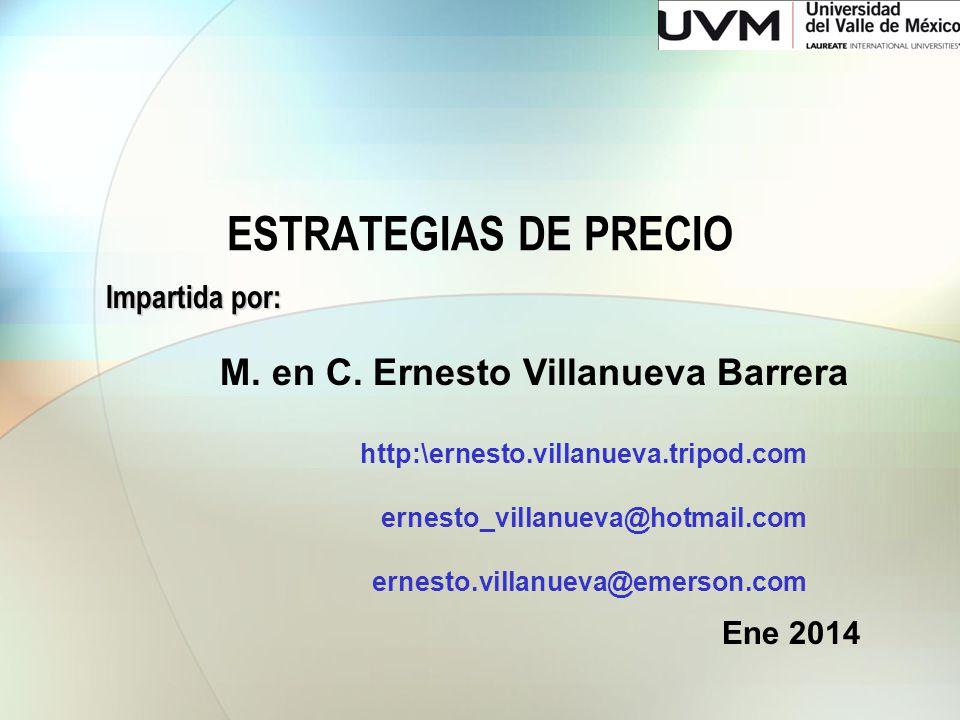 ESTRATEGIAS DE PRECIO M. en C. Ernesto Villanueva Barrera