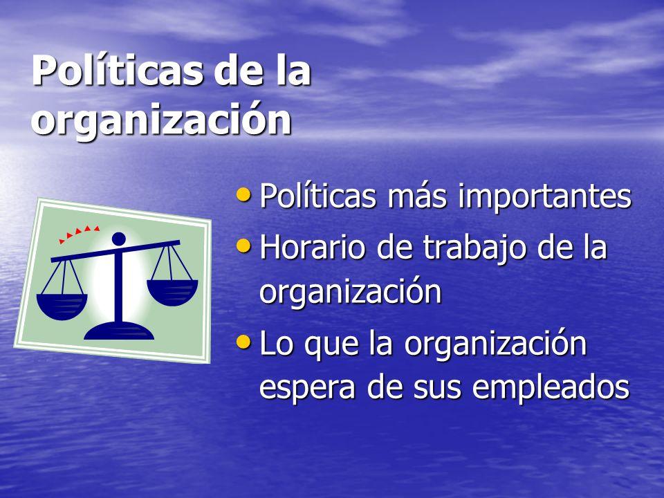 Políticas de la organización