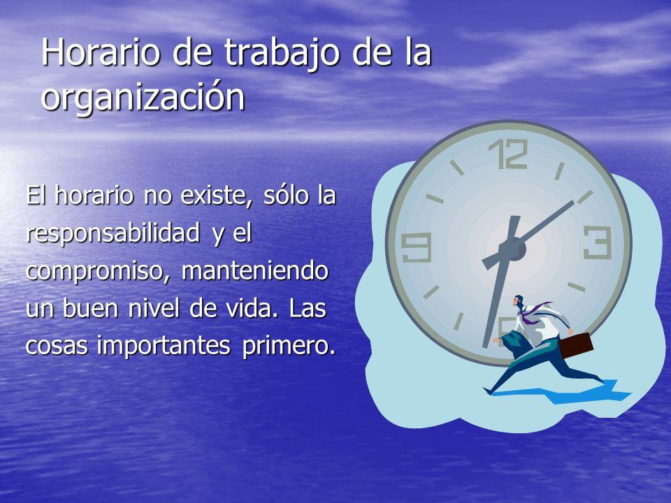 Horario de trabajo de la organización