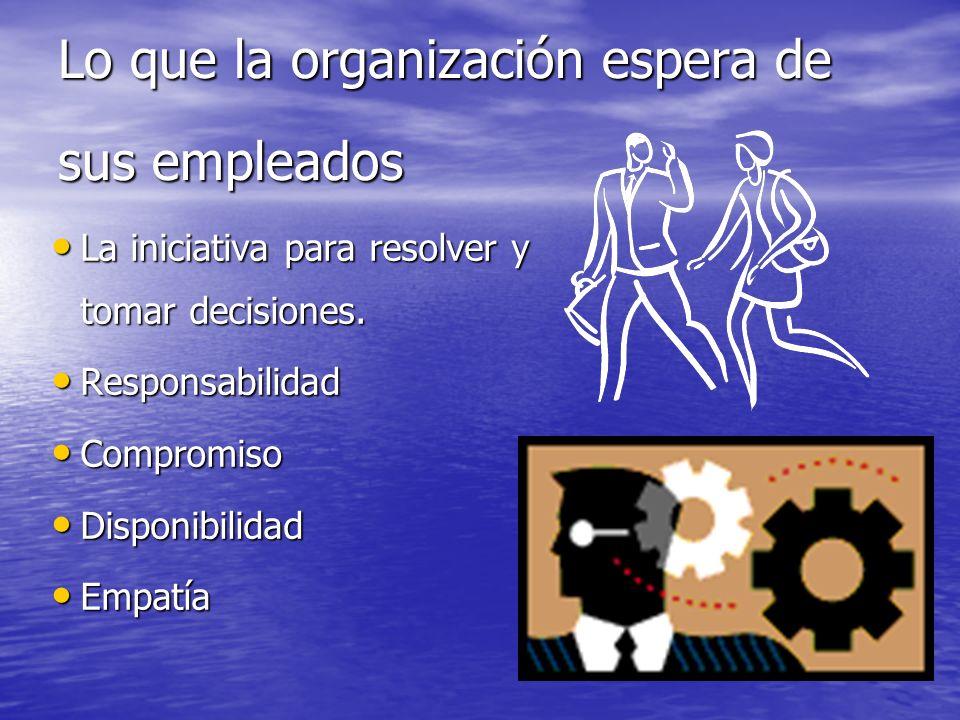Lo que la organización espera de sus empleados
