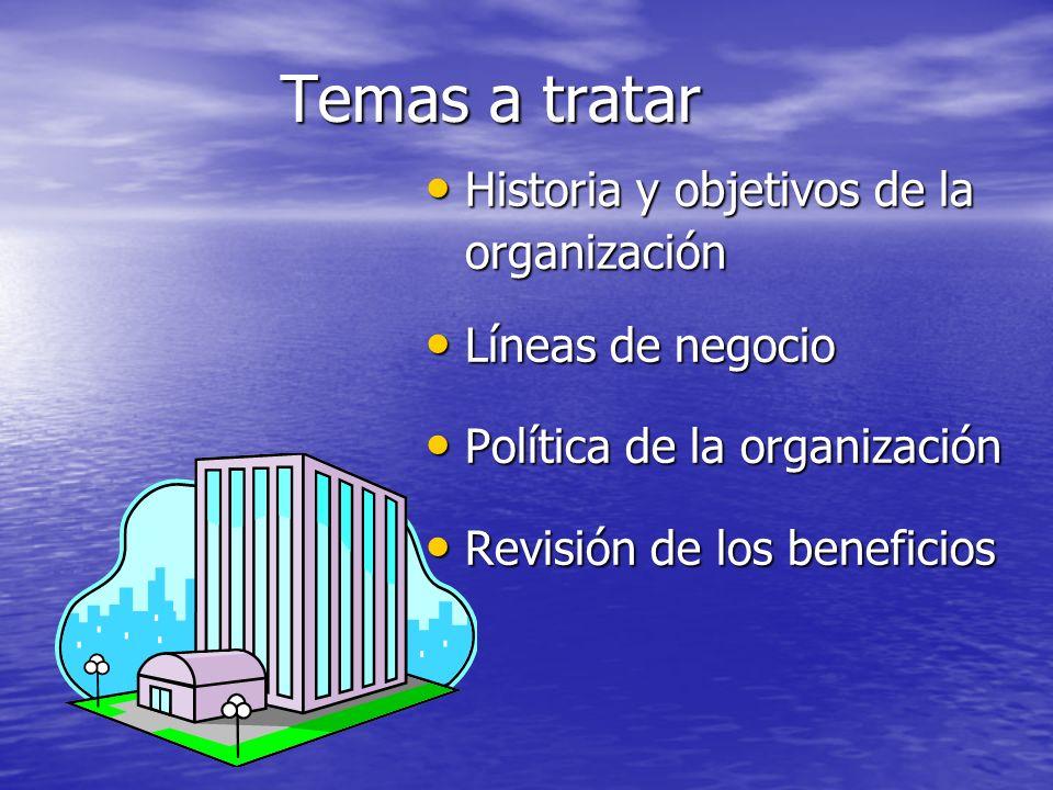 Temas a tratar Historia y objetivos de la organización
