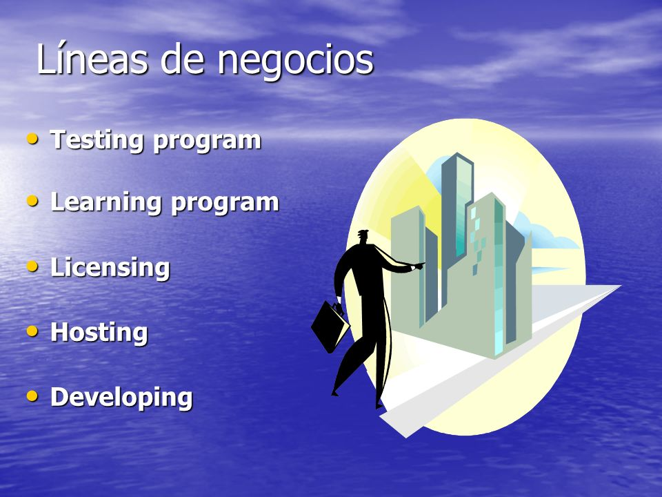 Líneas de negocios Testing program Learning program Licensing Hosting