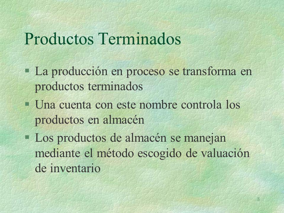 Productos Terminados La producción en proceso se transforma en productos terminados. Una cuenta con este nombre controla los productos en almacén.