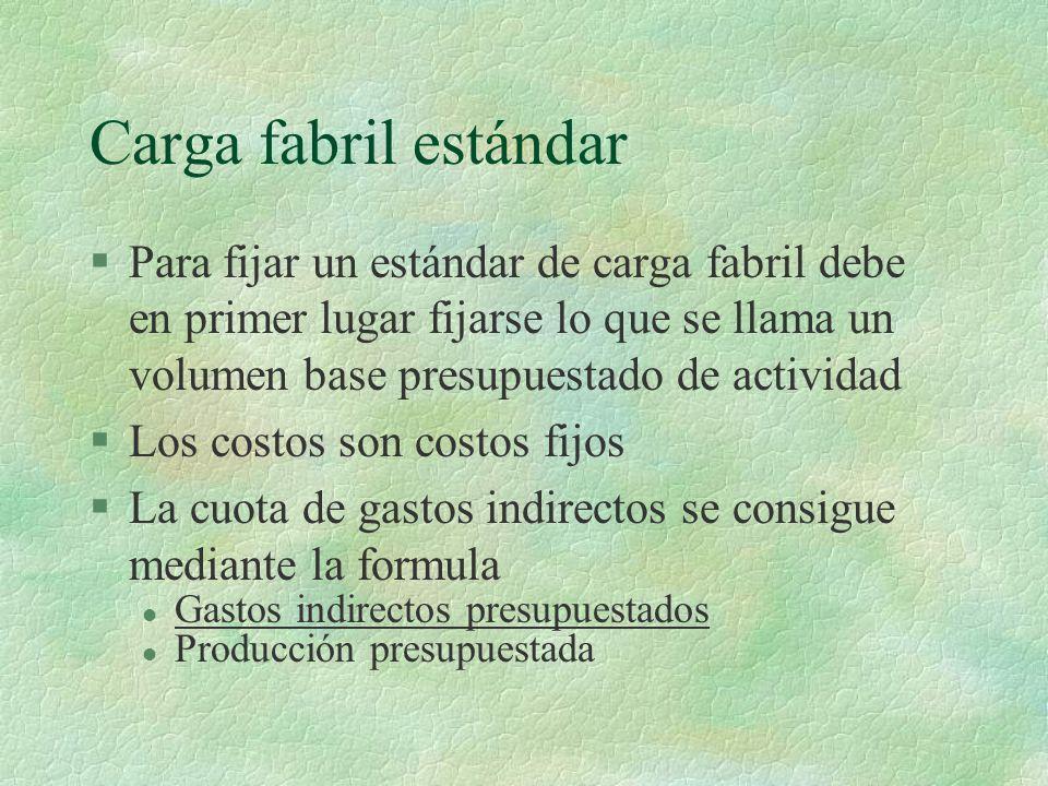 Carga fabril estándar Para fijar un estándar de carga fabril debe en primer lugar fijarse lo que se llama un volumen base presupuestado de actividad.