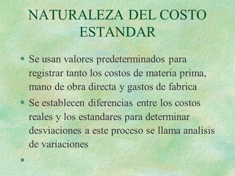 NATURALEZA DEL COSTO ESTANDAR