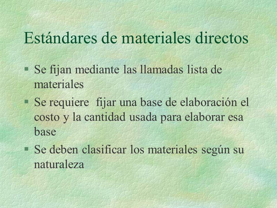 Estándares de materiales directos