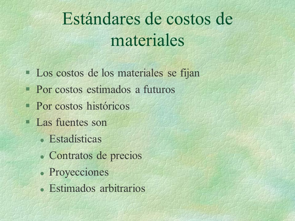 Estándares de costos de materiales