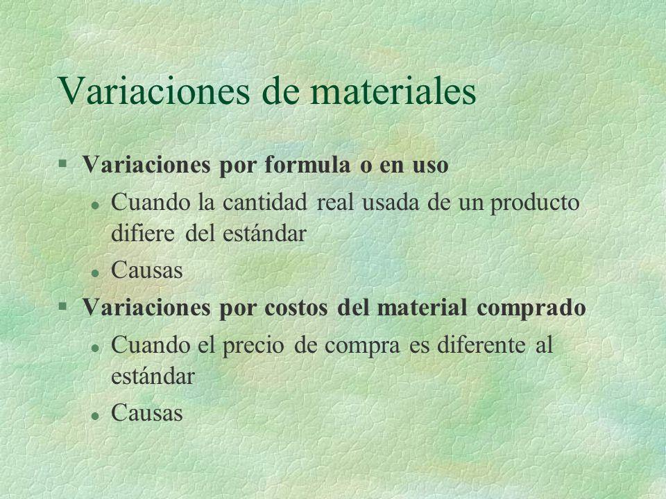 Variaciones de materiales
