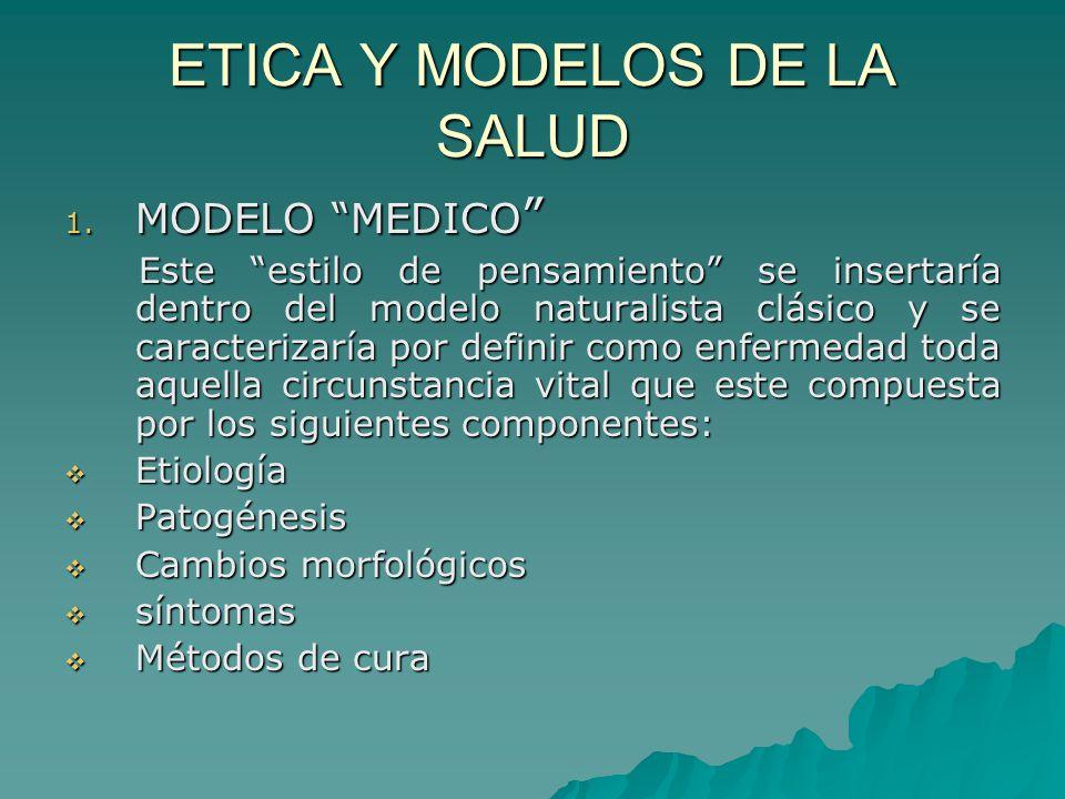 ETICA Y MODELOS DE LA SALUD