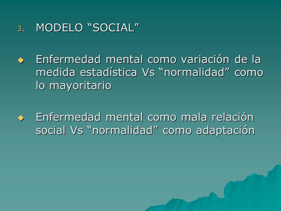 MODELO SOCIAL Enfermedad mental como variación de la medida estadística Vs normalidad como lo mayoritario.
