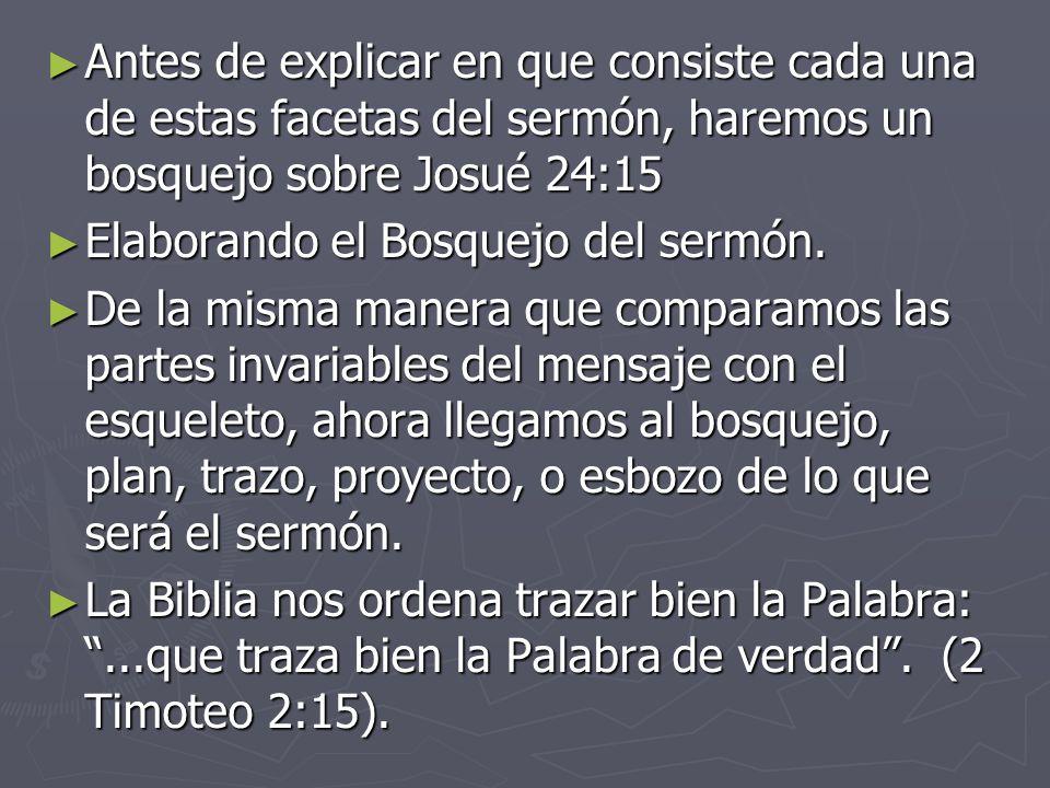 Antes de explicar en que consiste cada una de estas facetas del sermón, haremos un bosquejo sobre Josué 24:15