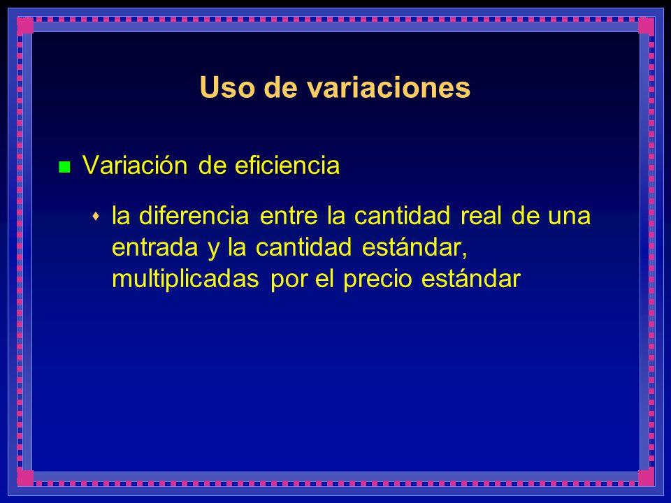 Uso de variaciones Variación de eficiencia