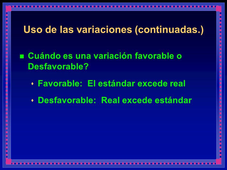 Uso de las variaciones (continuadas.)
