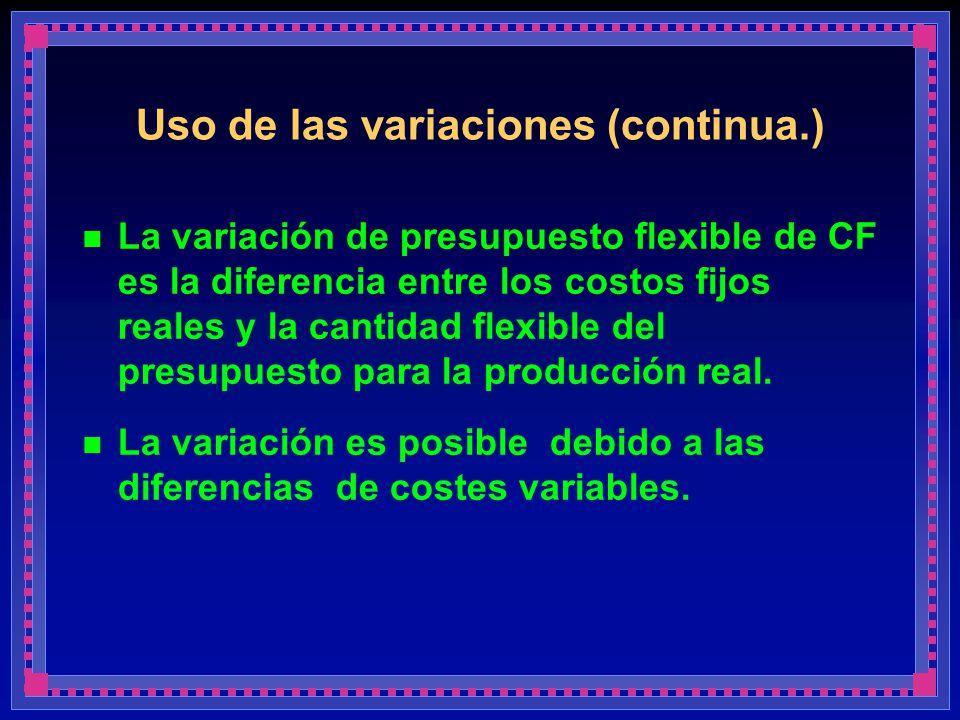 Uso de las variaciones (continua.)