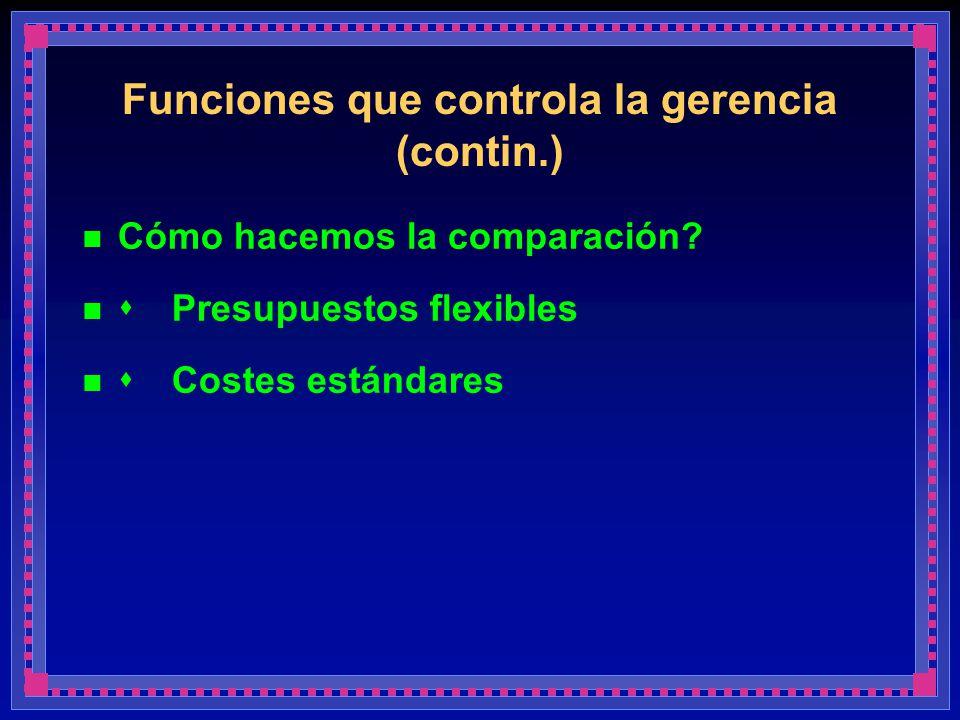 Funciones que controla la gerencia (contin.)