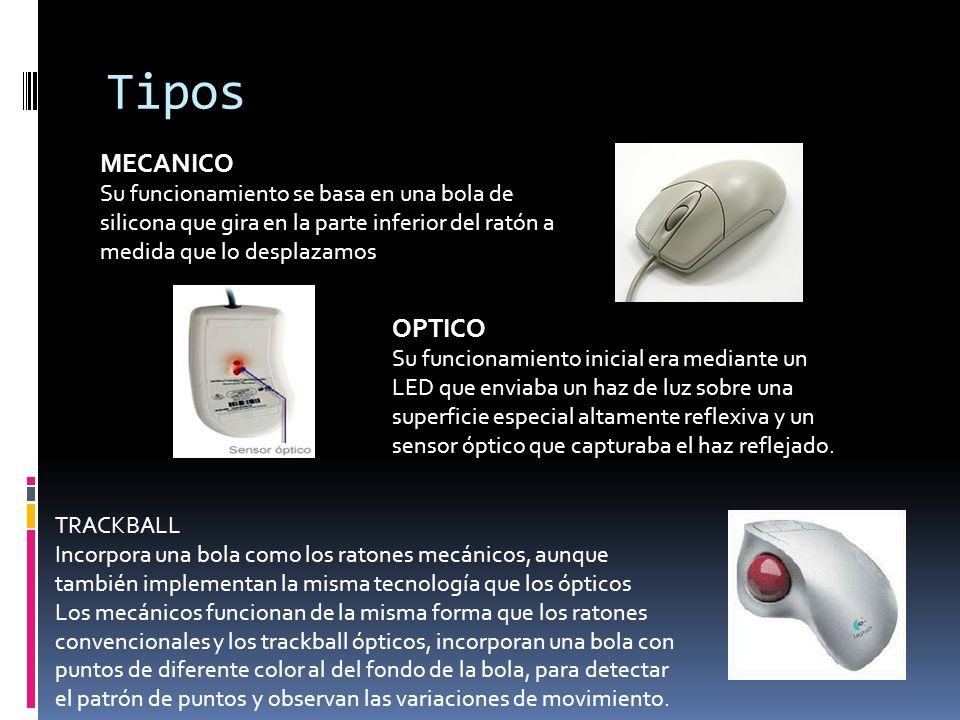 Tipos MECANICO. Su funcionamiento se basa en una bola de silicona que gira en la parte inferior del ratón a medida que lo desplazamos.