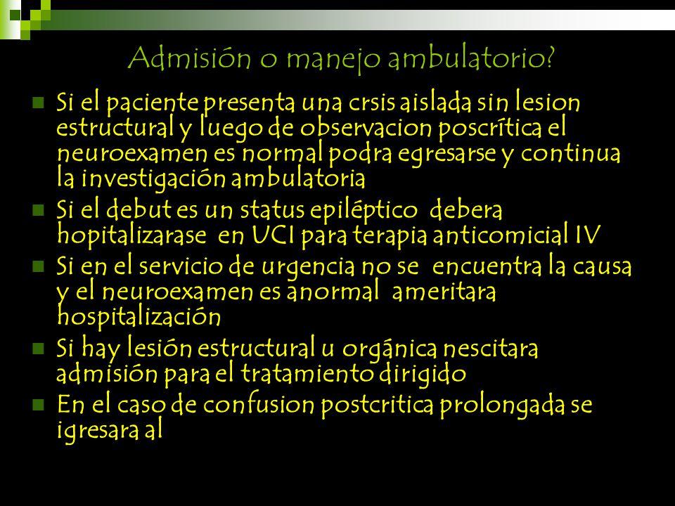 Admisión o manejo ambulatorio
