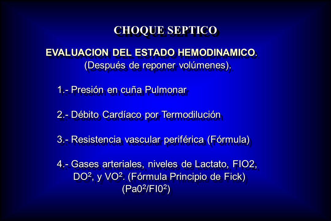 CHOQUE SEPTICO (Después de reponer volúmenes).
