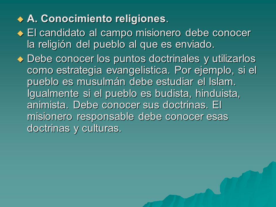 A. Conocimiento religiones.